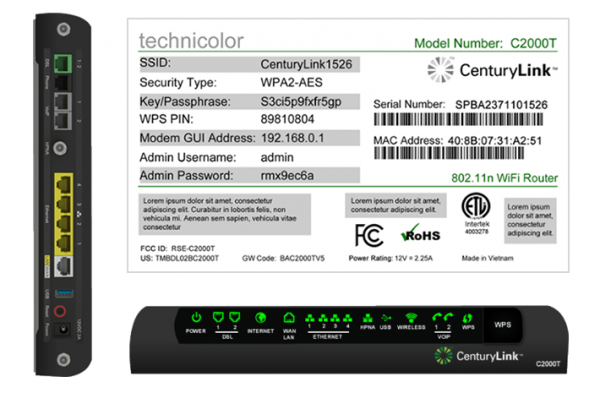 Technicolor C2000T Wireless DSL Modem